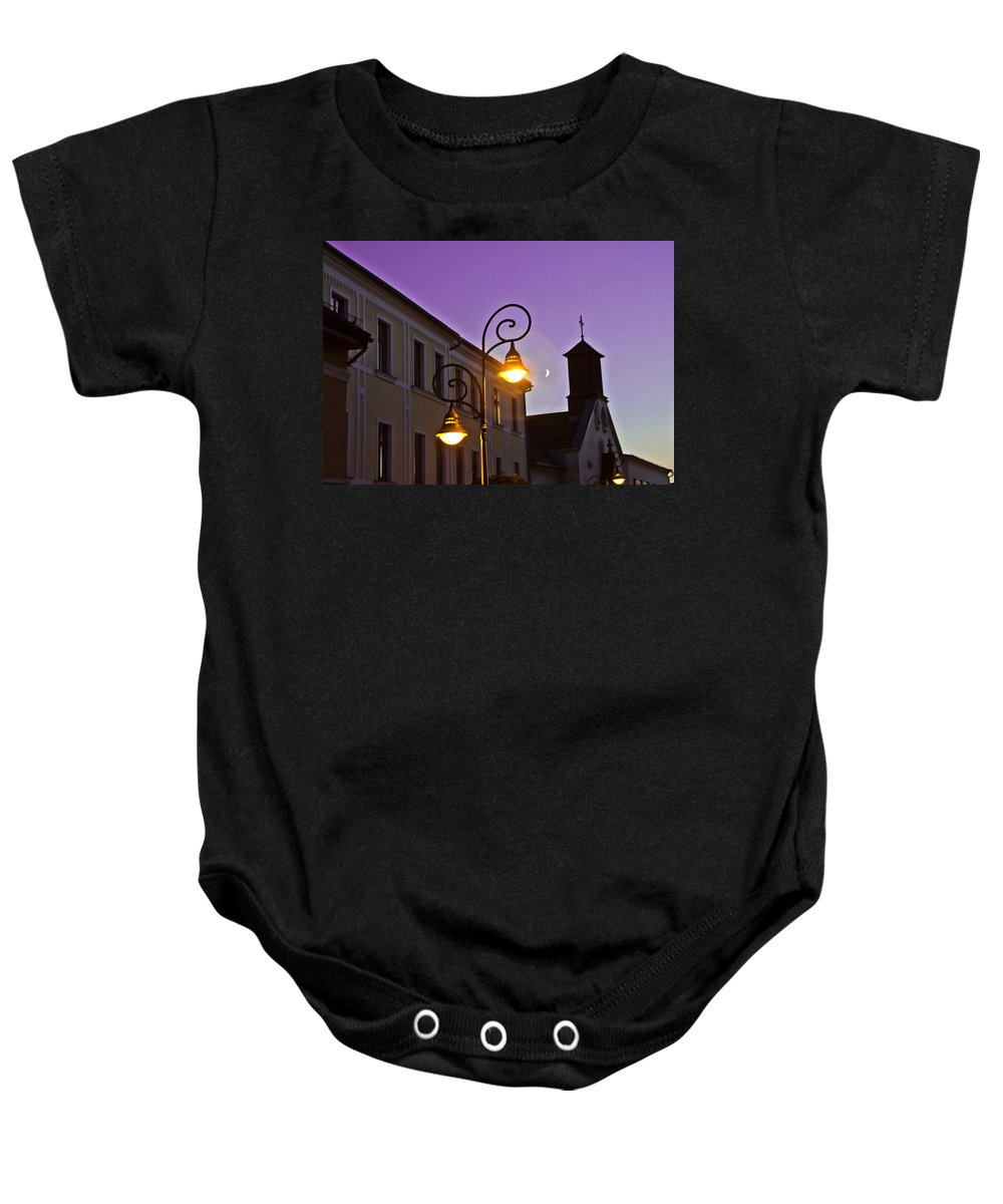 Lamp Baby Onesie featuring the photograph Romantic Nights by Alex Art and Photo