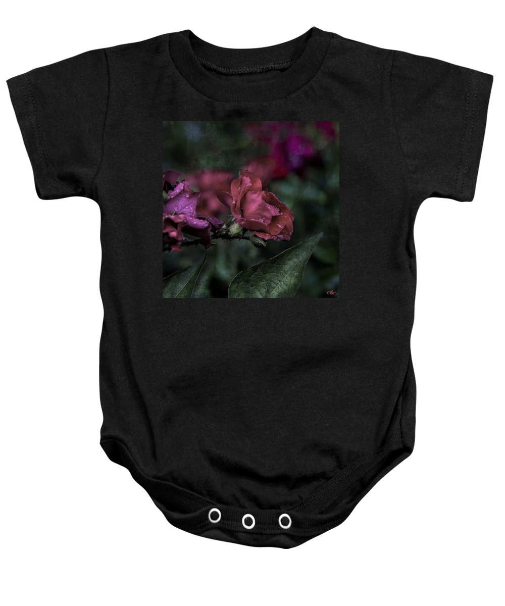 Evie Baby Onesie featuring the photograph Rose In The Rain by Evie Carrier