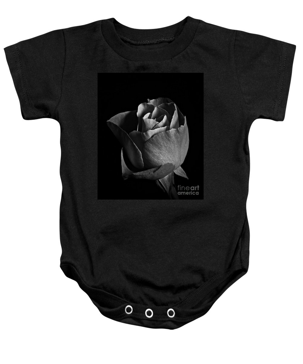 Rose Portrait Bw Baby Onesie featuring the photograph Rose Portrait Bw by Chalet Roome-Rigdon