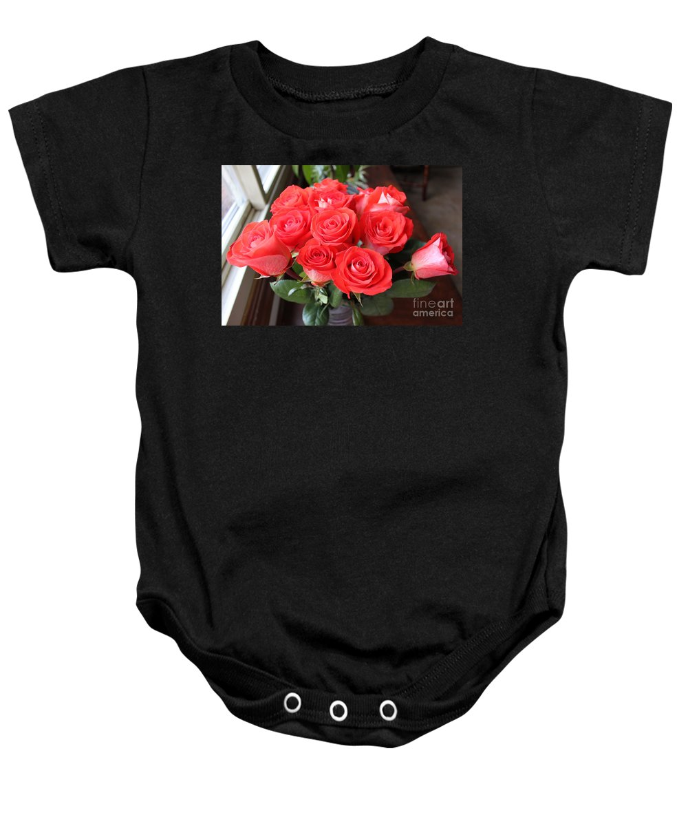 Flora Baby Onesie featuring the photograph Roses For Mother by Jennifer E Doll