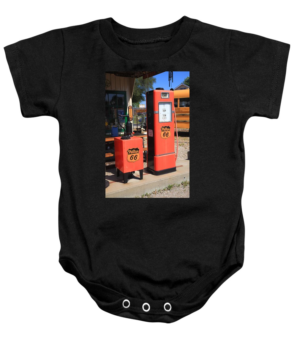 66 Baby Onesie featuring the photograph Route 66 Gas Pumps by Frank Romeo