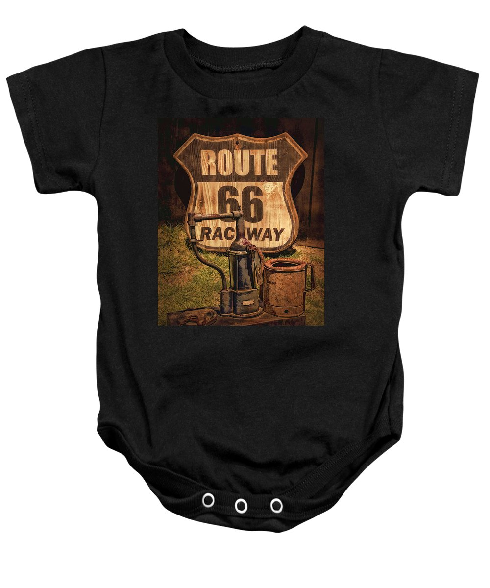 Route 66 Raceway Sign Baby Onesie featuring the photograph Route 66 Raceway by Priscilla Burgers