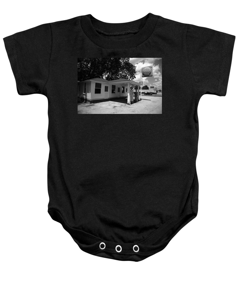 66 Baby Onesie featuring the photograph Route 66 - Soulsby Service Station by Frank Romeo