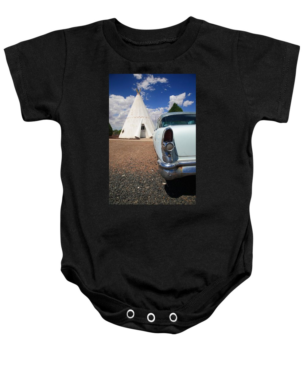66 Baby Onesie featuring the photograph Route 66 Wigwam Motel by Frank Romeo