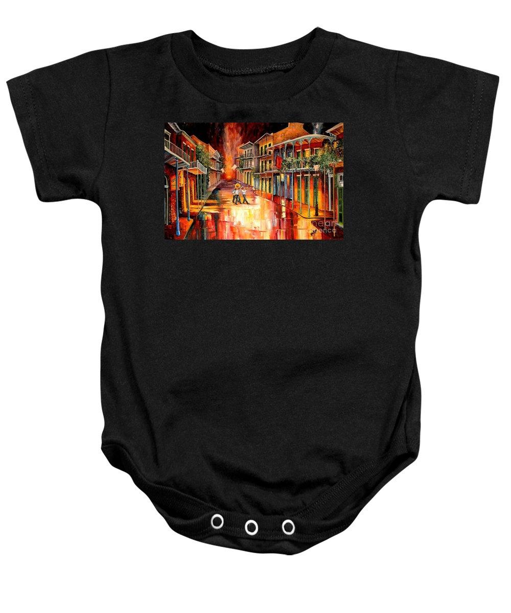New Orleans Baby Onesie featuring the painting Royal Street Serenade by Diane Millsap