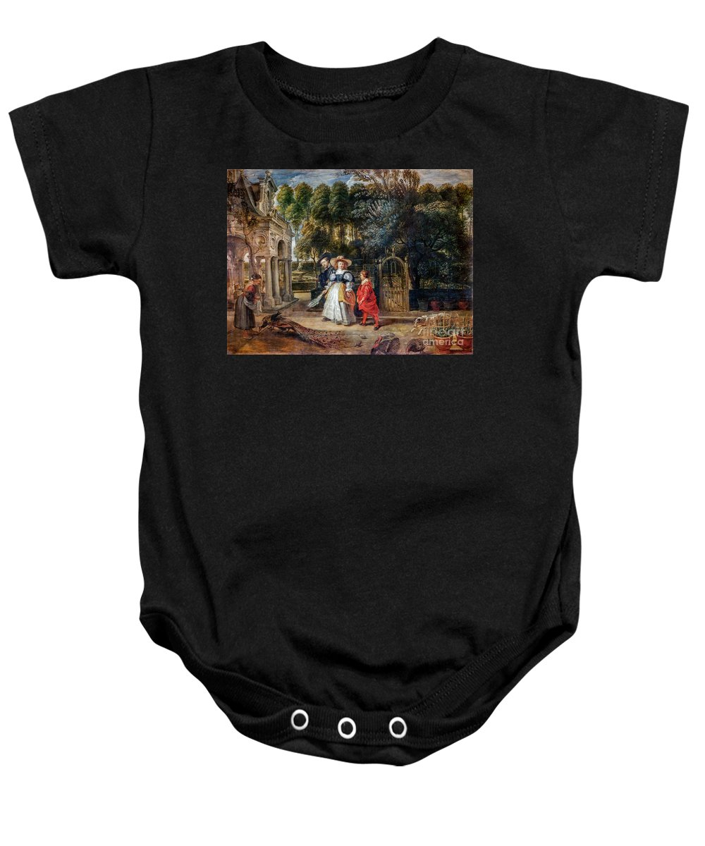 Rubens Baby Onesie featuring the painting Rubens In His Garden With Helena Fourment by Viktor Birkus