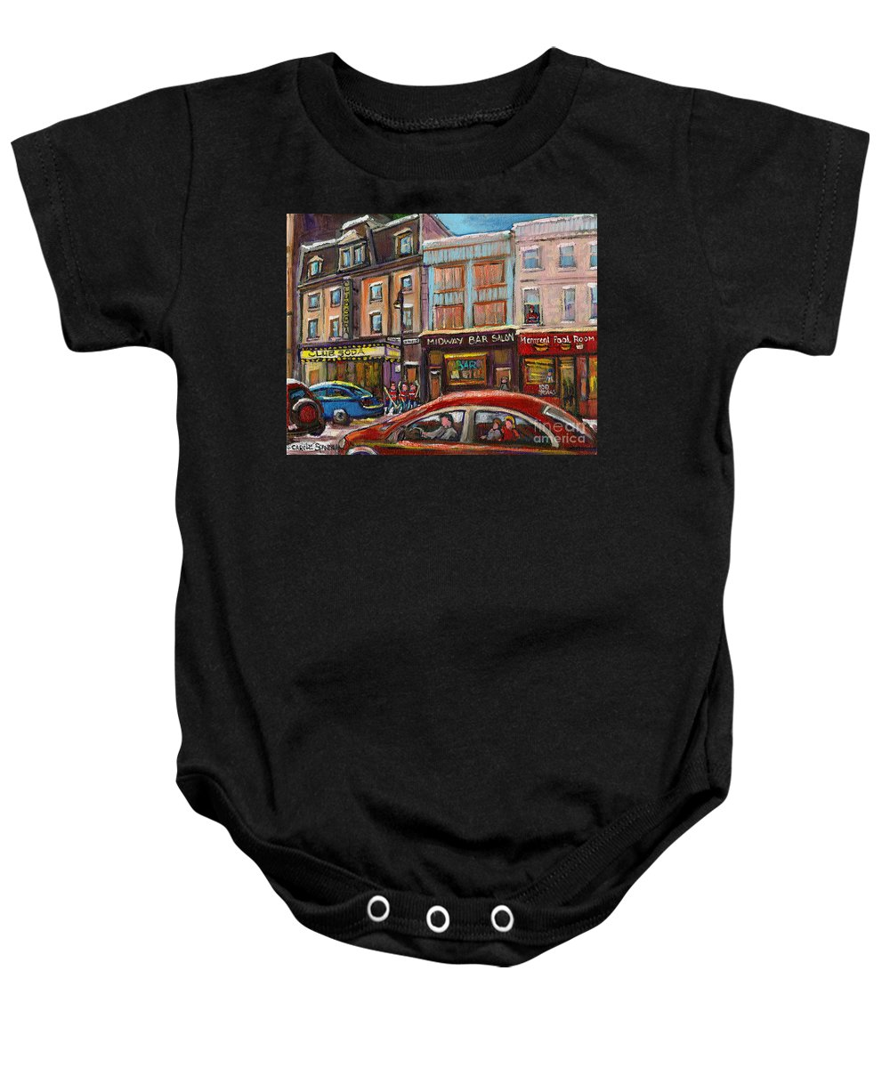 Winter Baby Onesie featuring the painting Rue Saint Laurent Club Soda Montreal by Carole Spandau