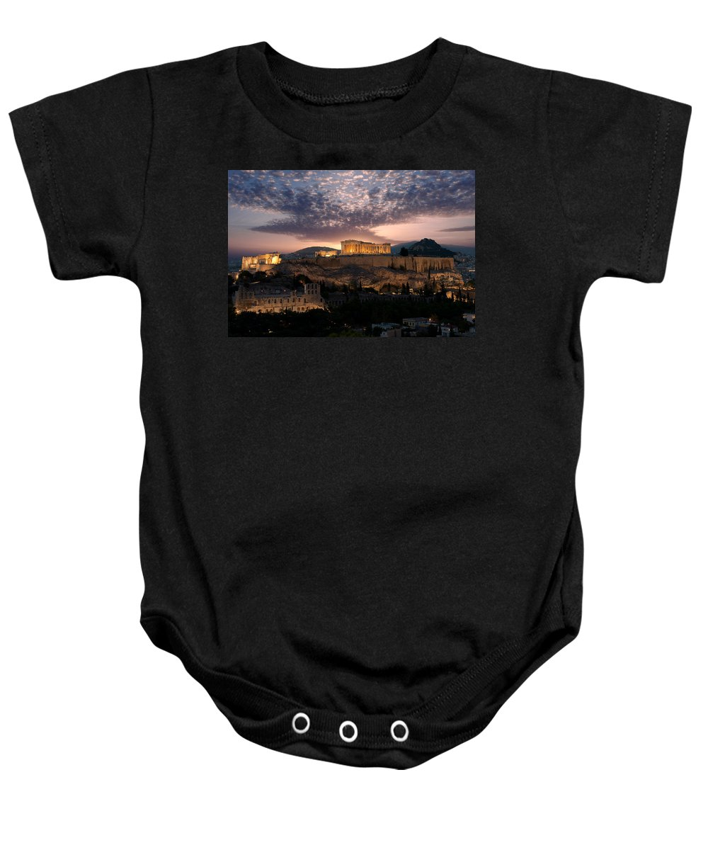 Photography Baby Onesie featuring the photograph Ruins Of A Temple, Athens, Attica by Panoramic Images