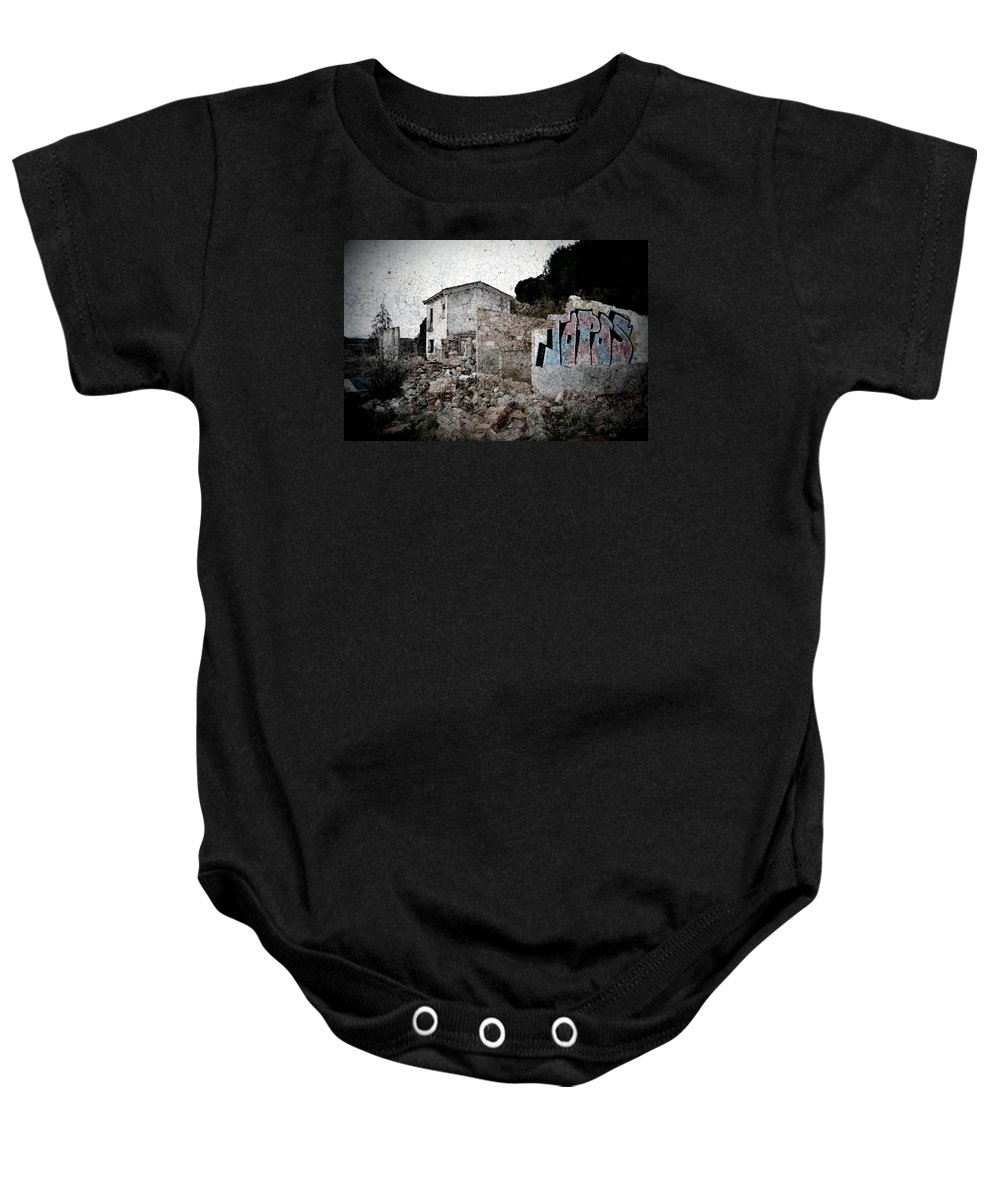 Topos Baby Onesie featuring the photograph Ruins Of An Abandoned Farm House by RicardMN Photography
