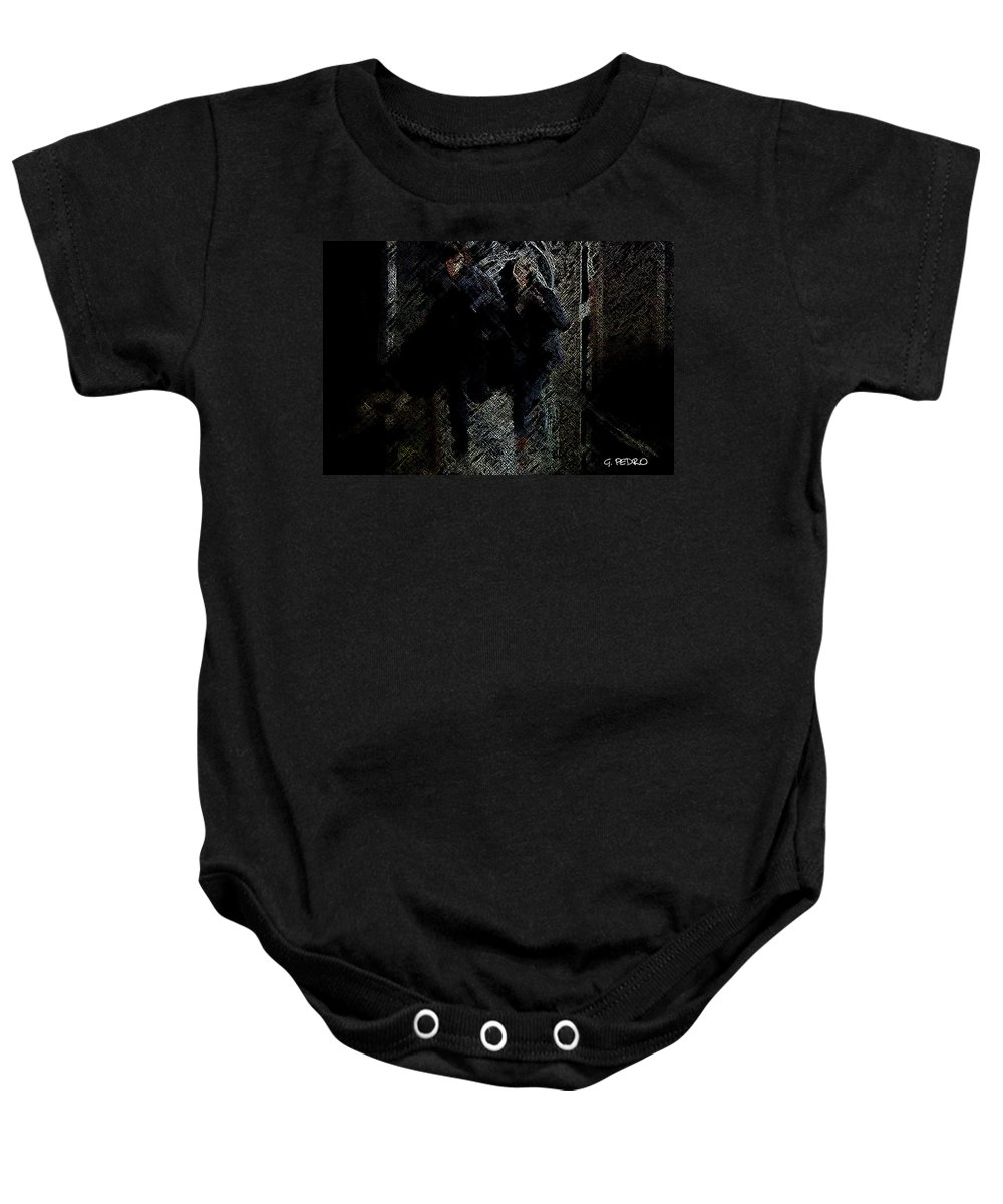 Men Baby Onesie featuring the digital art Running In The Shadows by George Pedro