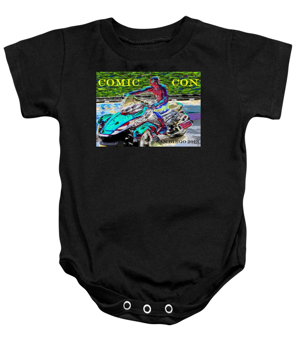Comic Con 2013 Baby Onesie featuring the painting Rushing To Comic Con by David Lee Thompson