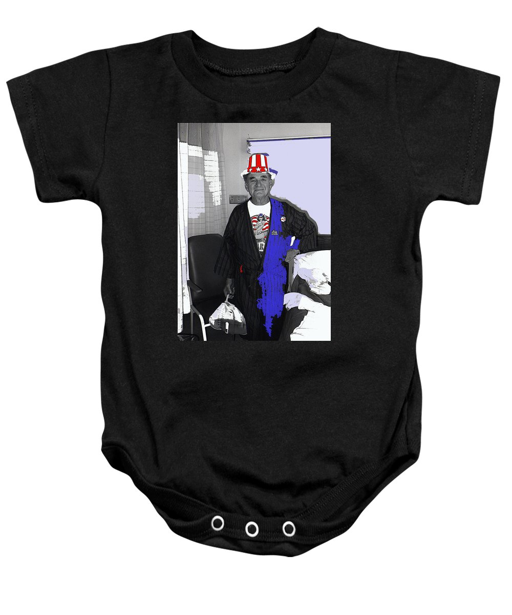 Russell Short Celebrating July 4th Tucson Medical Center Tucson Arizona John Boorman Hell In The Pacific Lee Marvin Toshiro Mifune Saipan July 4th Celebration Color Added World War2 Baby Onesie featuring the photograph Russell Short Celebrating July 4th Tucson Medical Center Tucson Arizona 1990 by David Lee Guss