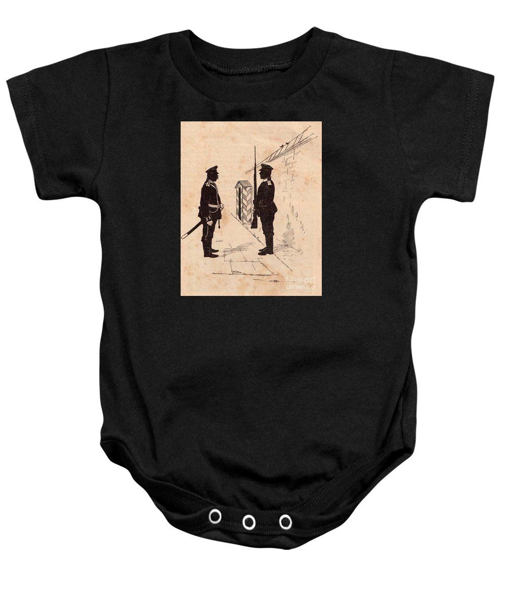 Soldiers Baby Onesie featuring the drawing Russian Soldiers by Oleg Konin