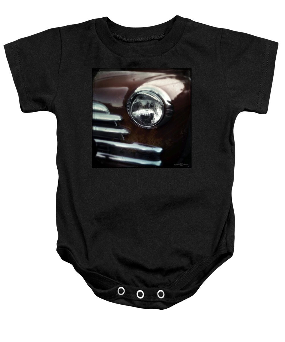Classic Baby Onesie featuring the photograph Rust-colored Chevy by Tim Nyberg