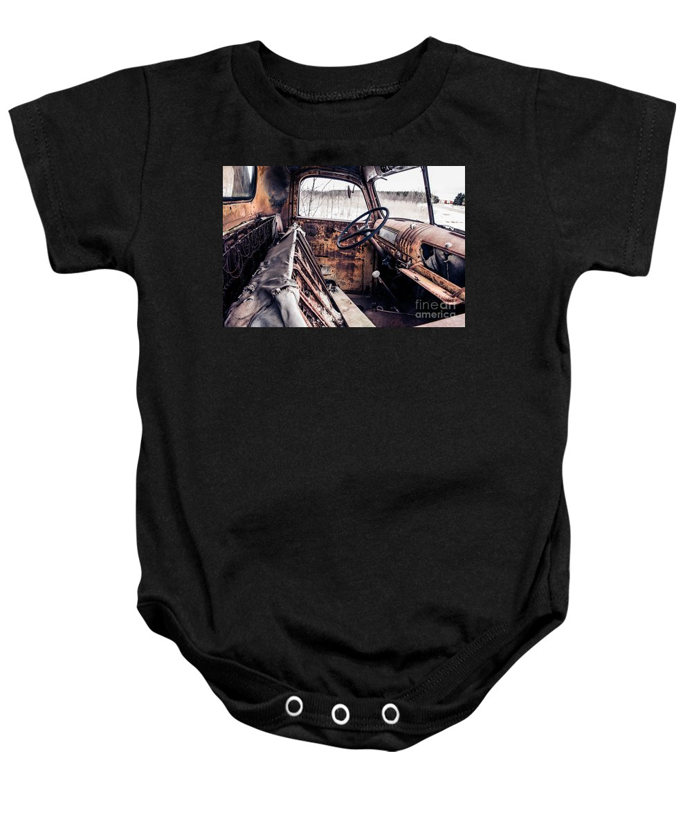 Truck Baby Onesie featuring the photograph Rusty Relic Truck by Nikki Vig