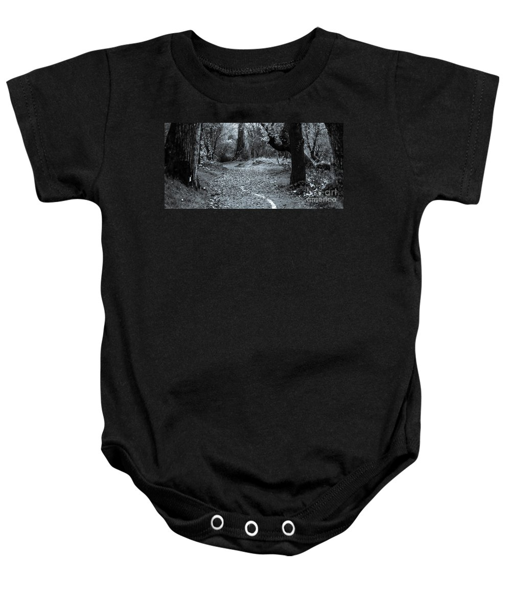 Black And White Baby Onesie featuring the photograph Sacramento River Walk At Turtle Bay by Along The Trail