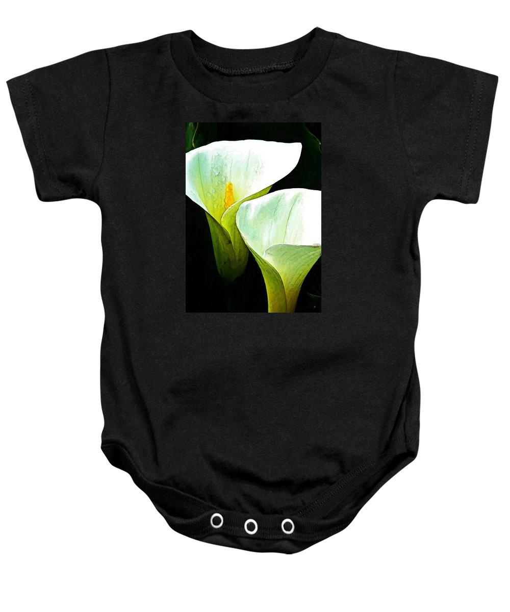 Calla Lilies Baby Onesie featuring the digital art Sad Lillies by Gary Olsen-Hasek