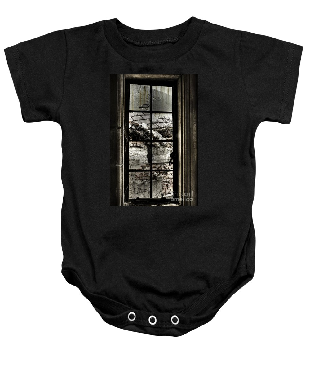 Window Baby Onesie featuring the photograph Sad View by Margie Hurwich