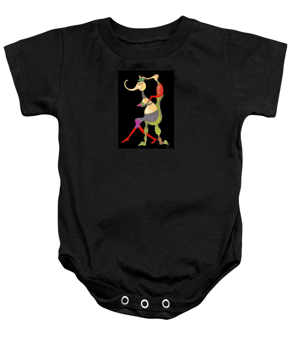 Genia Baby Onesie featuring the drawing Safe In Mother's Love by Genia GgXpress