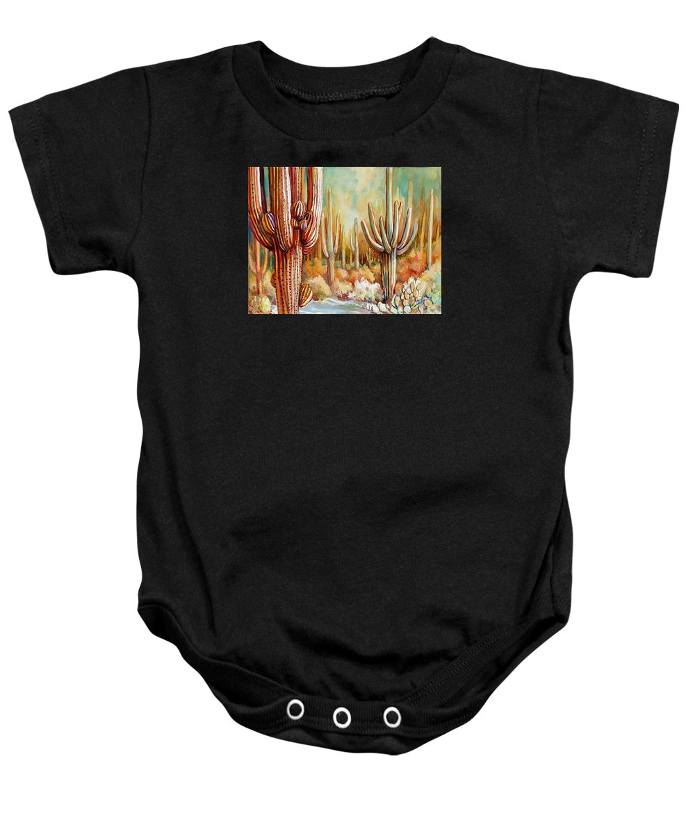 Saguaro Baby Onesie featuring the painting Saguaro National Forest by Victoria Wills