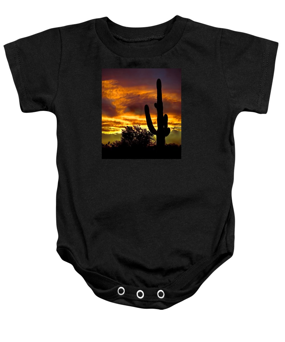 Cactus Baby Onesie featuring the photograph Saguaro Silhouette by Robert Bales