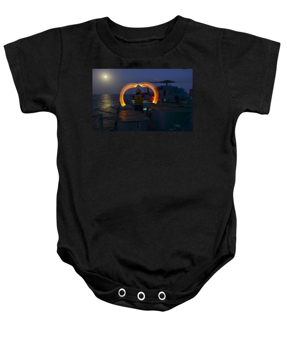 Uss Monterey Baby Onesie featuring the photograph Sailor Signals by Mountain Dreams