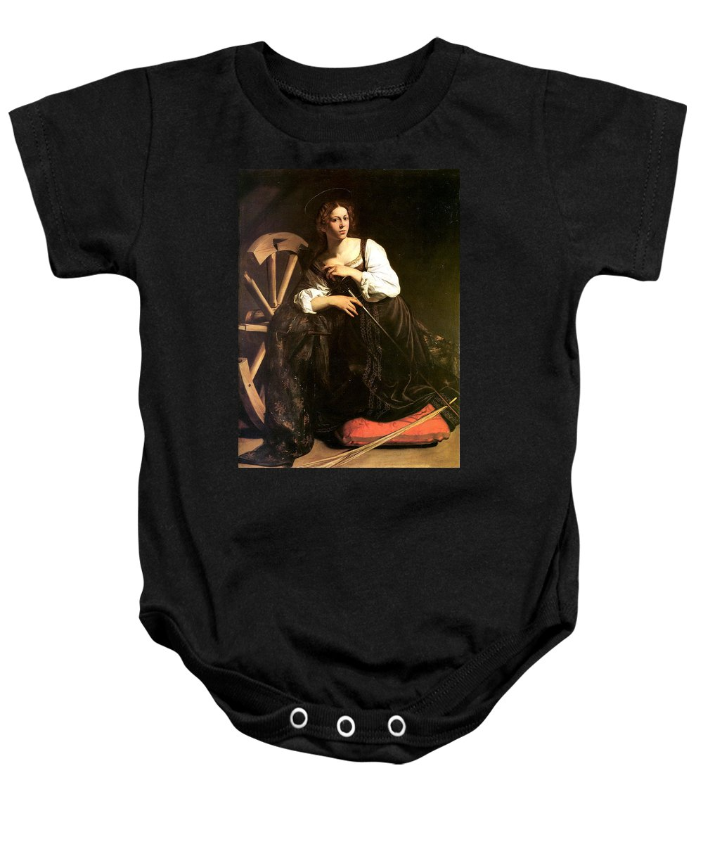 Caravaggio Baby Onesie featuring the digital art Saint Catherine Of Alexandria by Caravaggio