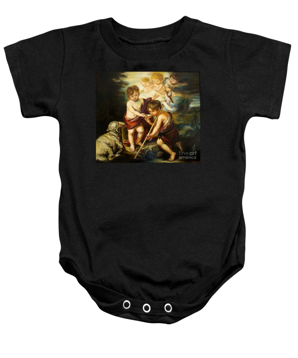 Classic Art Baby Onesie featuring the painting Saint John Baptist by Silvana Abel
