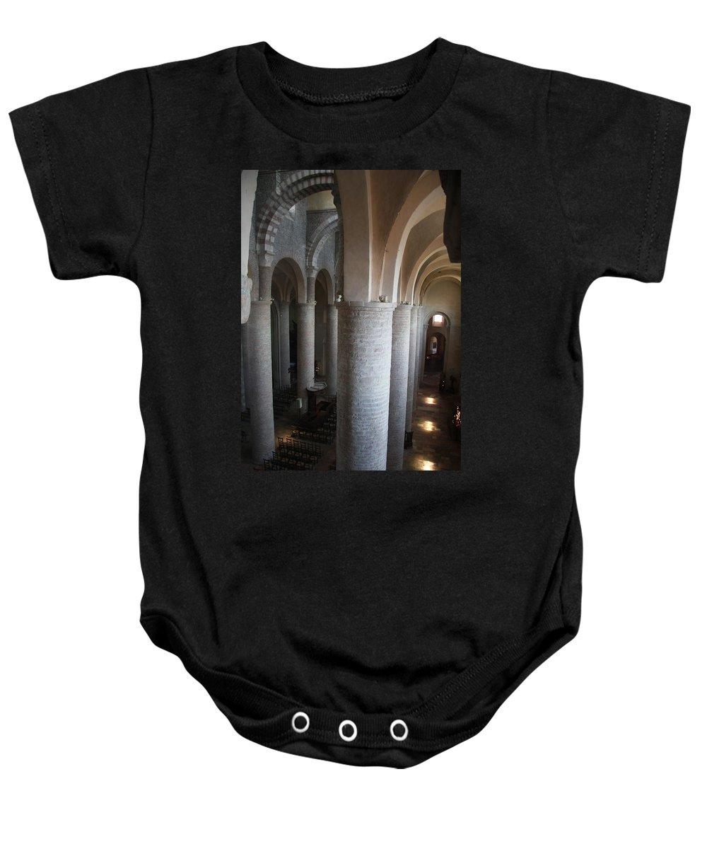 Saint Philibert Baby Onesie featuring the photograph Saint Philibert Church Interior Burgundy by Christiane Schulze Art And Photography