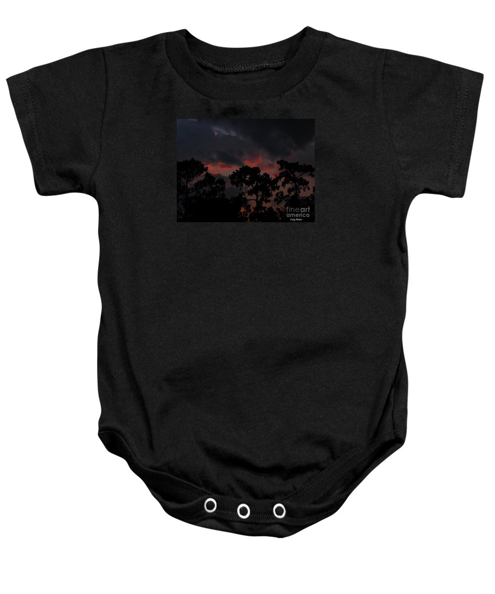 Art For The Wall...patzer Photography Baby Onesie featuring the photograph Salmon Sunset by Greg Patzer