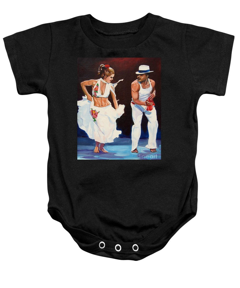 Dancing Baby Onesie featuring the painting Salsa by Jose Manuel Abraham