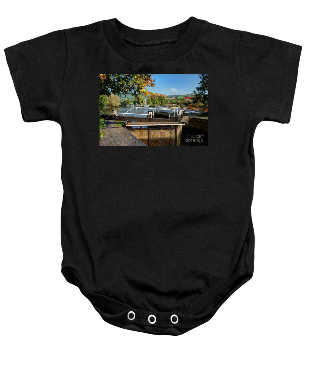Altford Baby Onesie featuring the photograph Saltford Locks by Rob Hawkins