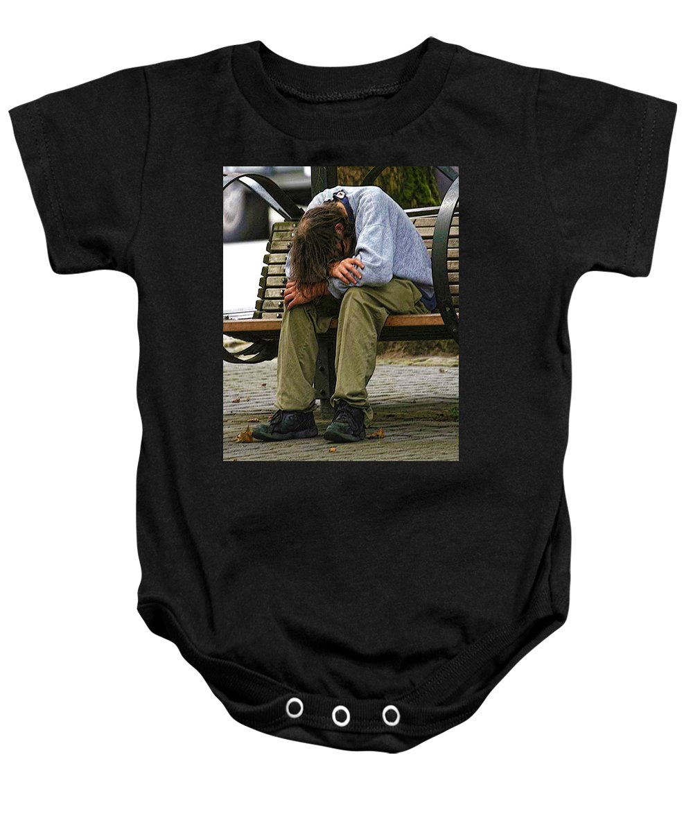 Man Baby Onesie featuring the photograph Same As Yesterday by Terry Fiala