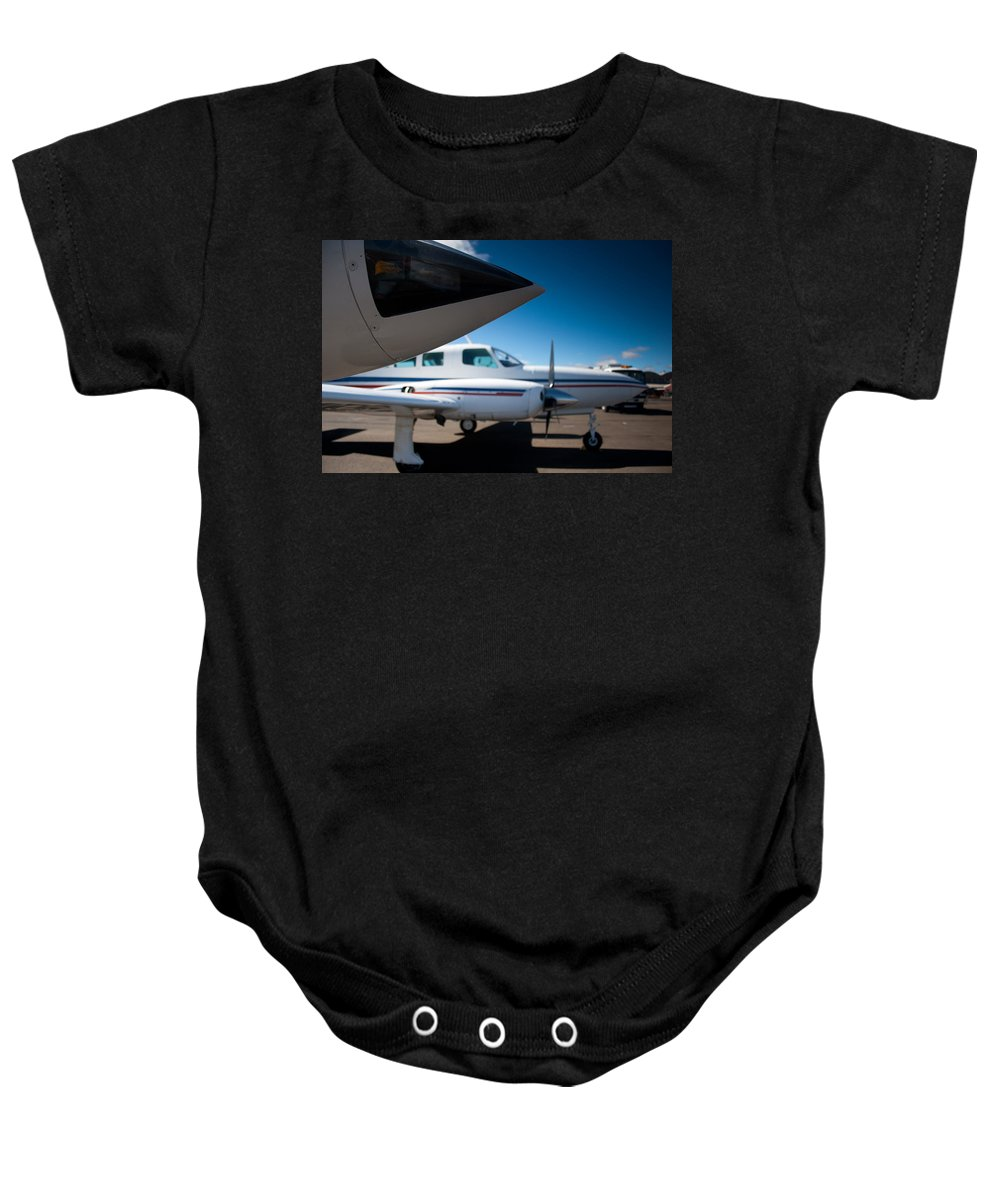 Twin Engine Baby Onesie featuring the photograph Same Direction by Paul Job
