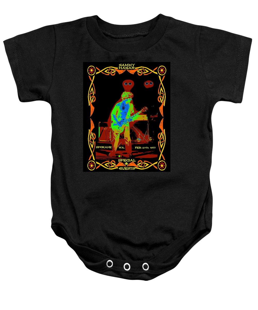 Sammy Hagar Baby Onesie featuring the photograph Sammy And Special Guests 1977 by Ben Upham