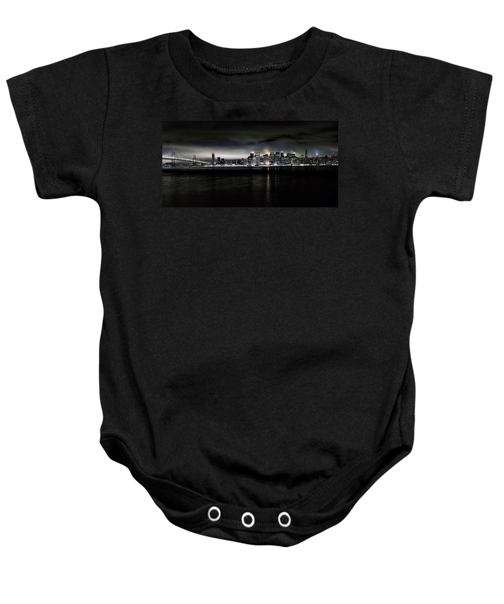 City By The Bay Baby Onesie featuring the photograph Across The Bay Version A by Digital Kulprits