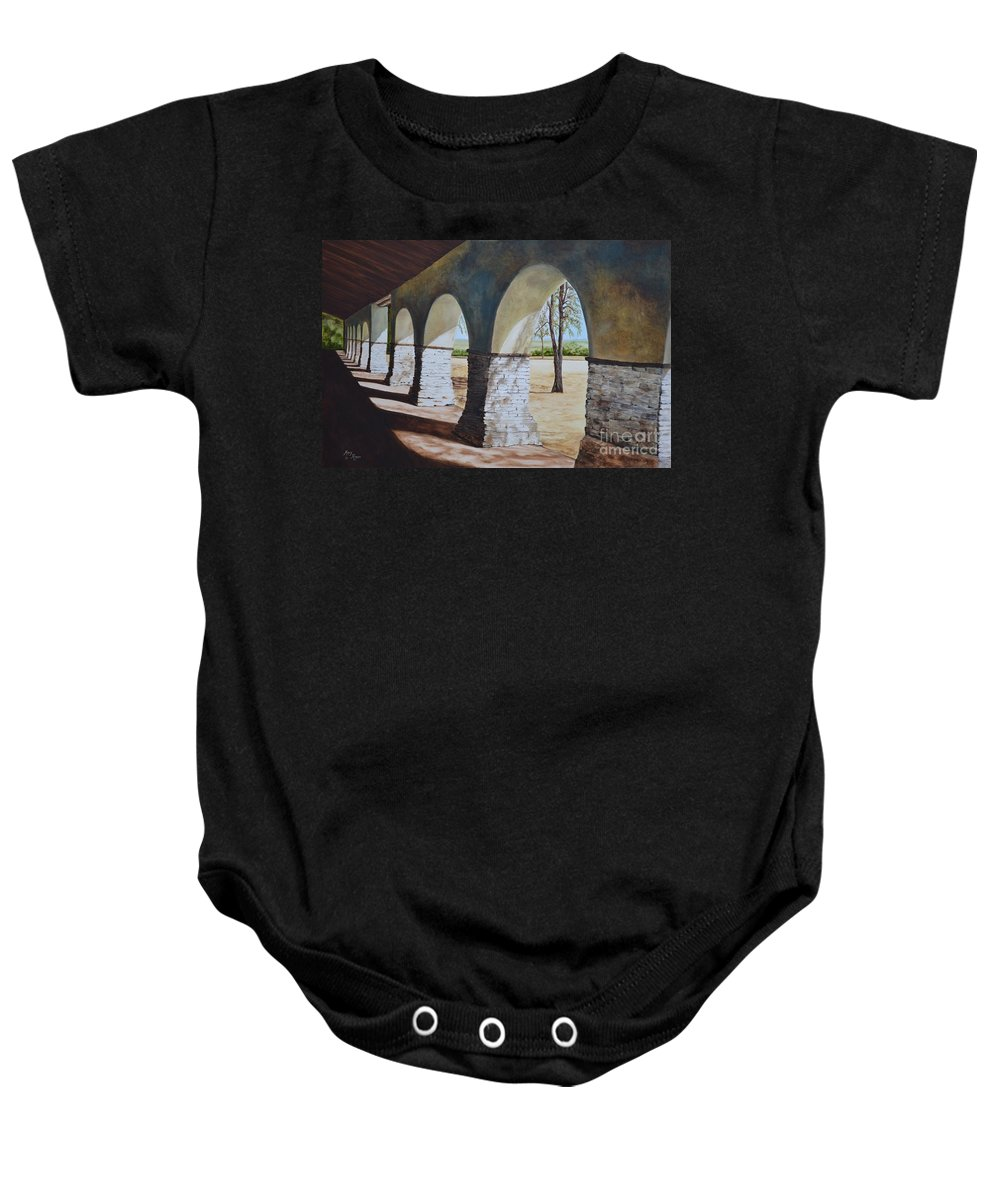 California Landmark Baby Onesie featuring the painting San Juan Bautista Mission by Mary Rogers