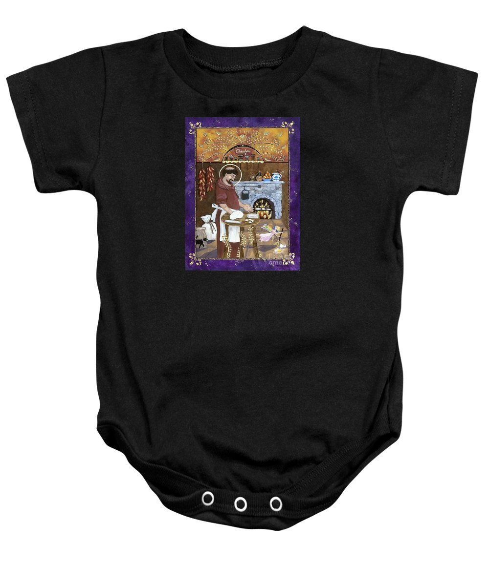 Sue Betanzos Baby Onesie featuring the painting San Pascual by Sue Betanzos