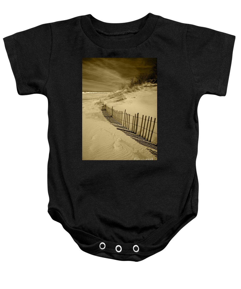 Sand Dunes Baby Onesie featuring the photograph Sand Dunes And Fence by Timothy Johnson