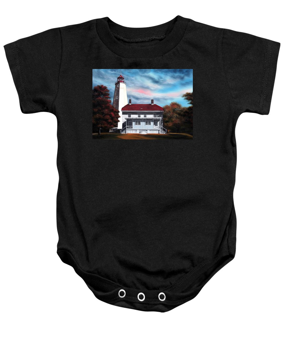 Lighthouse Baby Onesie featuring the painting Sandy Hook Lighthouse by Daniel Carvalho