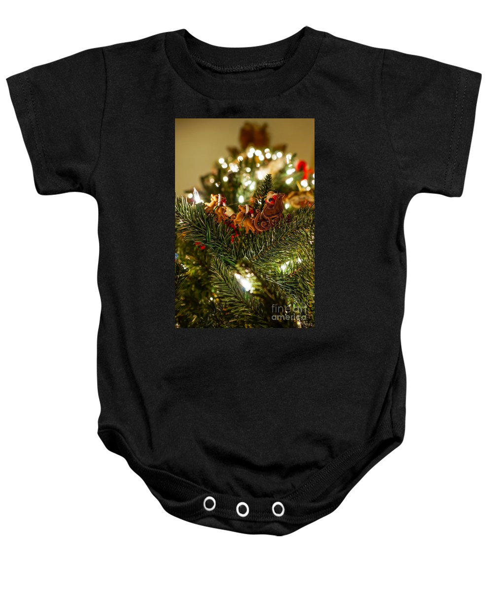 Christmas Baby Onesie featuring the photograph Santa And Sleigh by Jennifer White