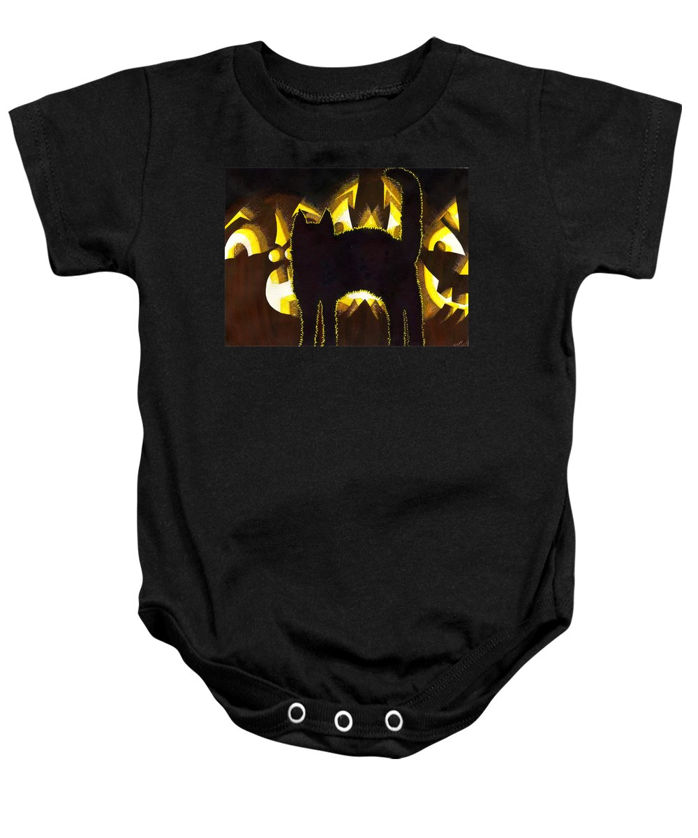 Cat Baby Onesie featuring the painting Scaredy Cat by Catherine G McElroy