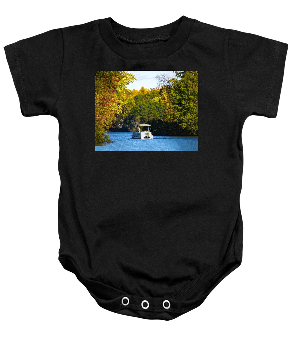Autumn Baby Onesie featuring the photograph Scenic Autumn Viewing by Sandi OReilly