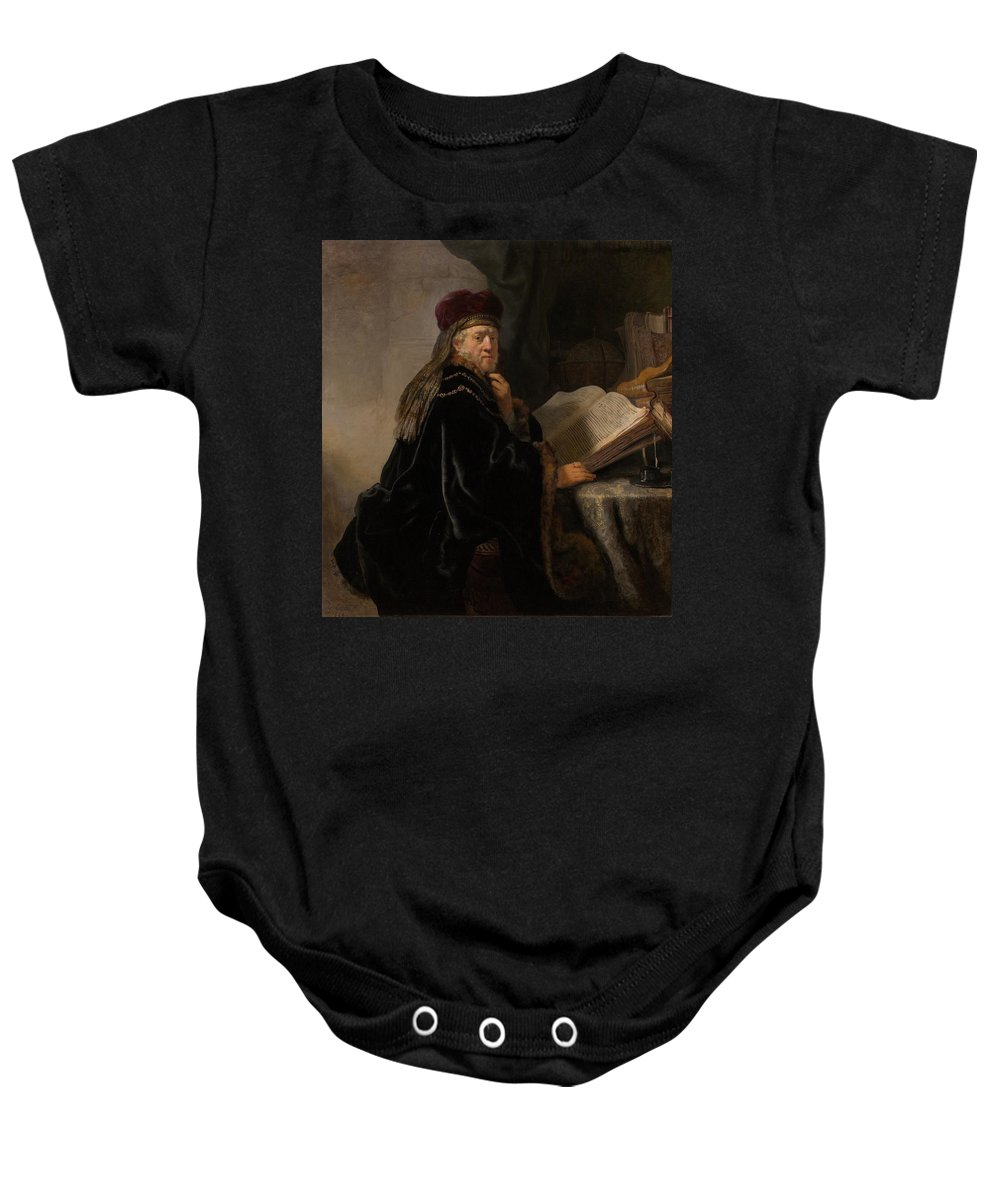 1634 Baby Onesie featuring the painting Scholar At His Study by Rembrandt van Rijn