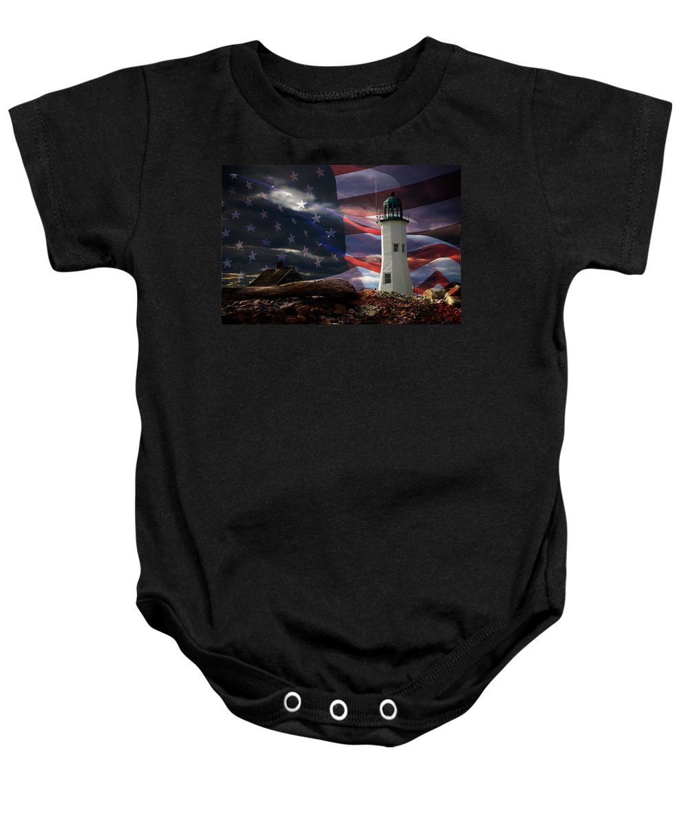 Lighthouses Of New England Baby Onesie featuring the photograph Scituate Strong Protecting American Shoreline by Jeff Folger