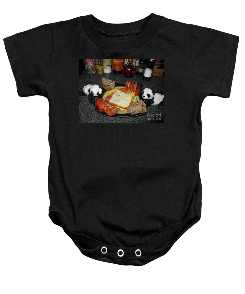 Kitchen Art Baby Onesie featuring the photograph Scrambled Eggs Salami And Cheese For Breakfast. Travelling Baby Pandas Series. by Ausra Huntington nee Paulauskaite