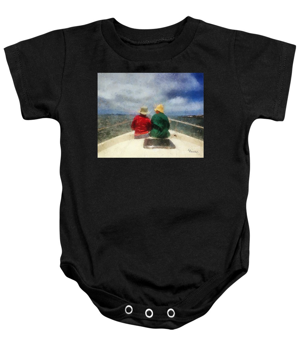 Sailing Baby Onesie featuring the painting Sea Breeze 4 On The Bay by Linda Weinstock