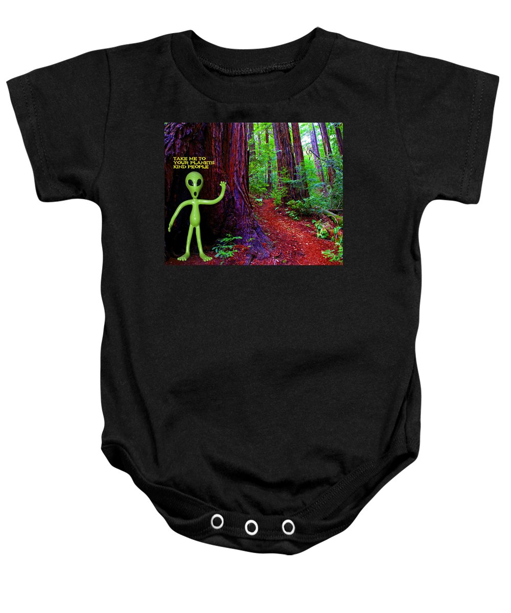 Aliens Baby Onesie featuring the photograph Searching For Friends Among The Redwoods by Ben Upham III