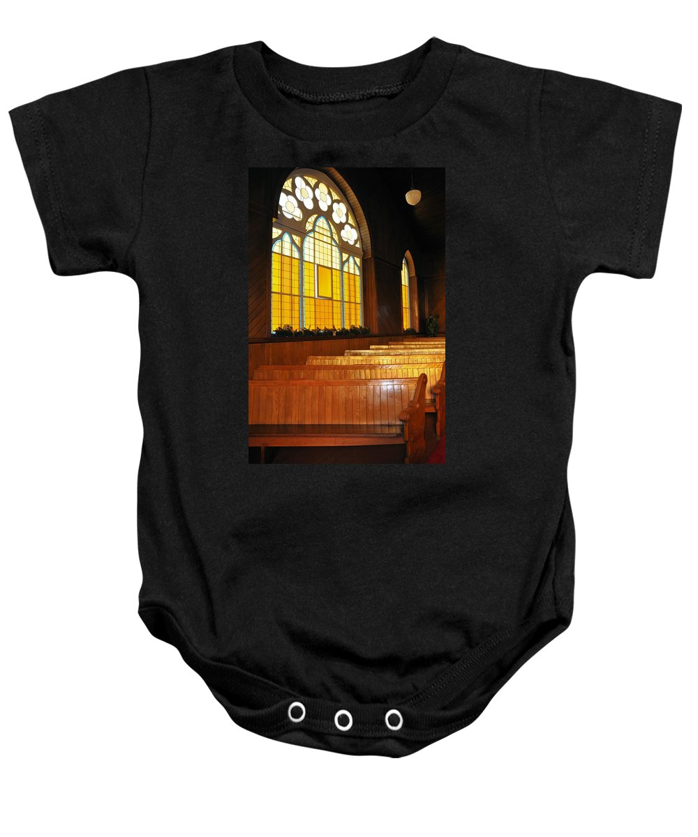 Pew Baby Onesie featuring the photograph Seats In The Light by Valerie Kirkwood