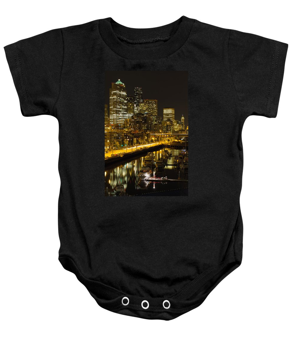 Seattle Baby Onesie featuring the photograph Seattle Downtown Waterfront Skyline At Night by Jit Lim